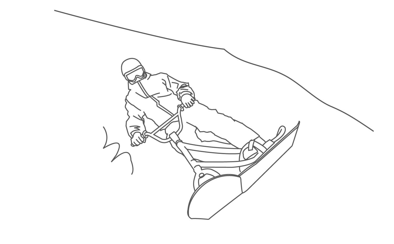 スノースクート転び方