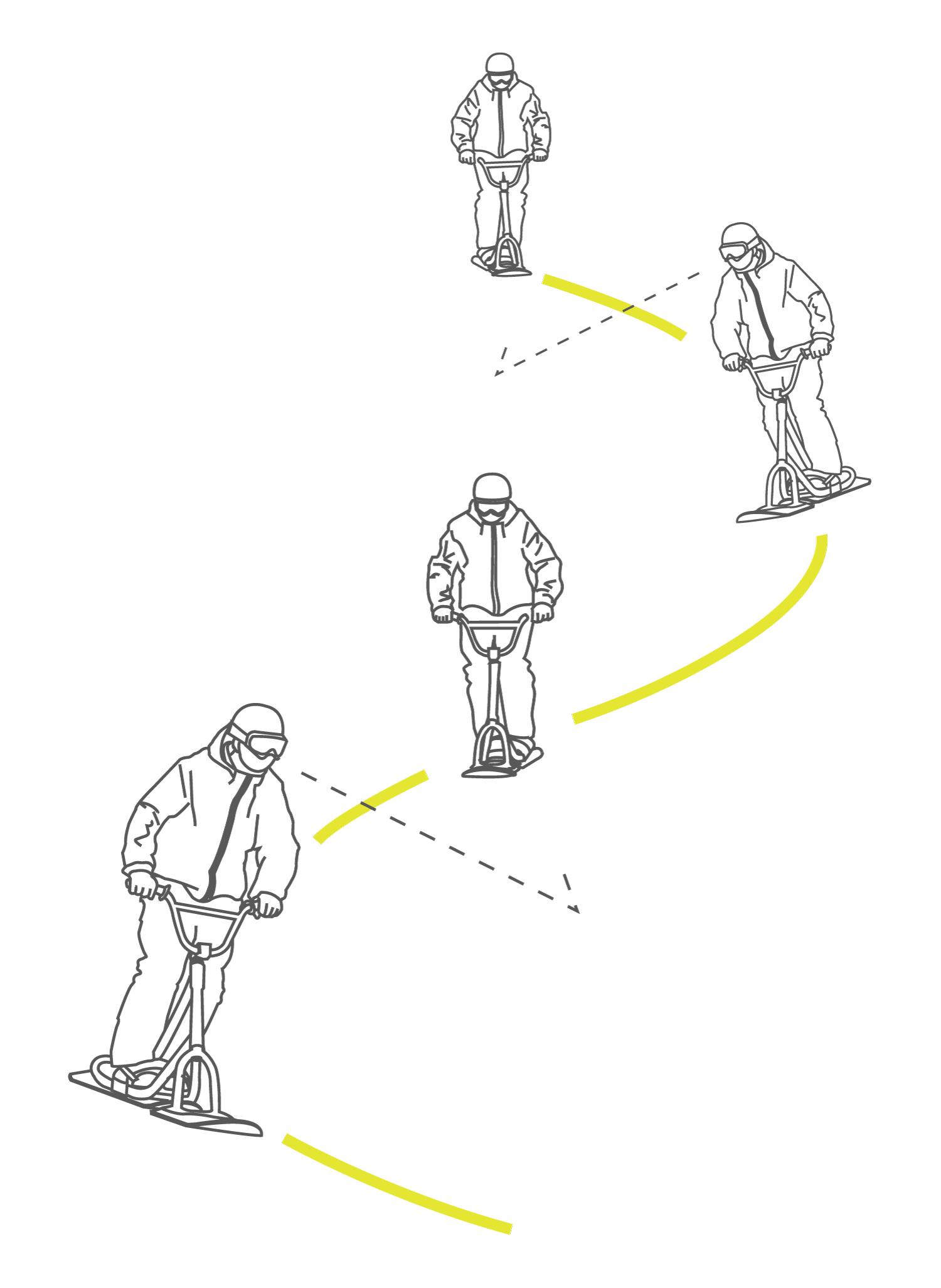 スノースクート練習3_連続ターン